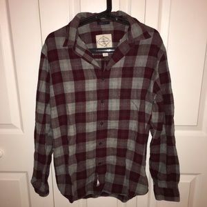 St. John's Bay Tops - Maroon and Gray Plaid Flannel