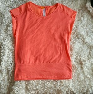 Lucy Tops - Lucy Neon Orange Work Out Gym Shirt Top XS
