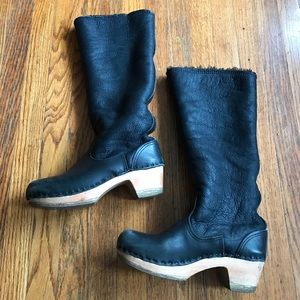 "No. 6 Pull On Shearling Boot Black Suede 15"" Clogs"