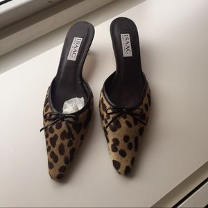 Isaac Made In Italy 6.5 pony animal print mules