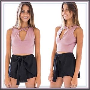 Tops - NWT Dusty Rose Blush Choker Crop Top