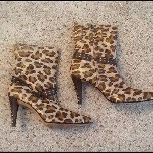 Kathy Van Zeeland Shoes - KATHY Van ZEELAND LEOPARD SHEEN ANKLE BOOTS sz 8.5