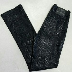 Guess Pants - Guess Faux Snakeskin Leather Bootcut Pants Sz 26