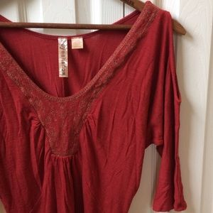 Eyeshadow Tops - EYESHADOW cold-shoulder embellished top--size M