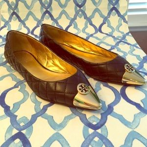 Tory Burch quilted gold toe flats