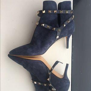 Valentino Garavani Shoes - Valentino Rockstud Blue suede ankle booties