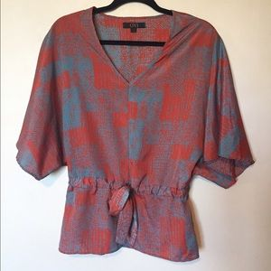 OVI Tops - Orange and Blue Blouse