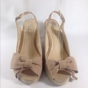Talbots Shoes - Talbots Tan Bow Wedge Sandals Size 8
