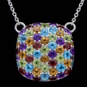 Robert Manse 925 Mixed Faceted Stone Necklace