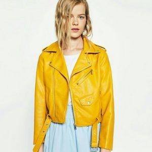 NWOT Zara mustard yellow faux leather moto jacket