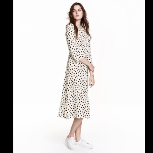 83bd4948a H M Dresses   Skirts - H M long white brown and black dot patterned dress