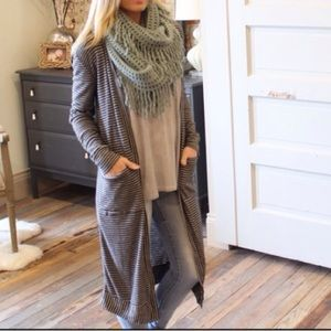 Boutique Sweaters - Gray/Black Striped Long Cardigan