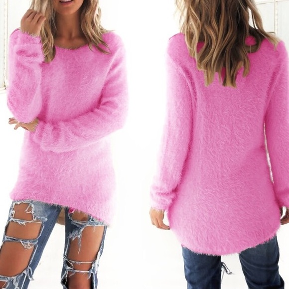 83% off Boutique Tops - FUZZY PINK TUNIC SWEATER from Lolka-posh ...