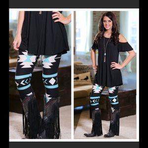 Pants - ⚡️SALE⚡️ Black & Turquoise Aztec Leggings