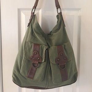 Stamp 10 Handbags - 🛍 Stamp 10 Green Brown Large Hobo Bag
