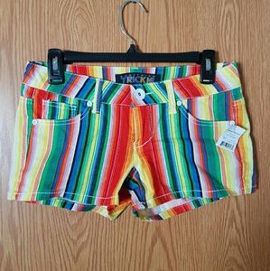 Urban Outfitters Pants - Rainbow Striped Short Shorts NWT