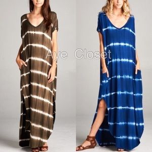 Dresses & Skirts - Maxi dress side slot pockets tie dyed oversized