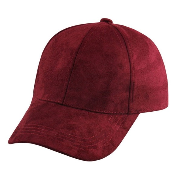 Accessories - •NEW• burgundy suede baseball cap