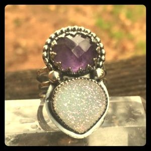 Jewelry - Amethyst and Druzy ring 💍 🌙