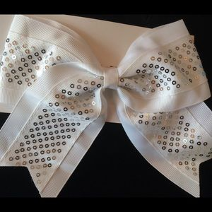 Other - FREE!  White Grosgrain Silver Sequin Cheer Bow