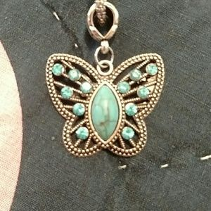 Turquoise butterfly necklace & chain