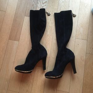 Tory Burch Shoes - Tory Burch black suede zip knee boots