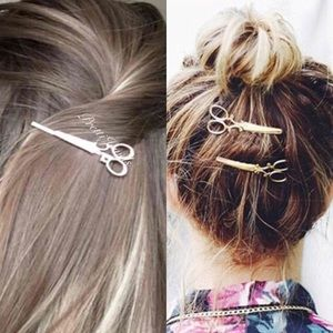 2pc Scissors Hair Clip Gold Toned