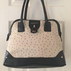 London Fog Handbags - 🛍 London Fog Black Cream Ostrich Tote Bag