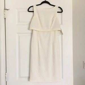 Maggie London Ivory Fitted Dress W/ Texture Fabric