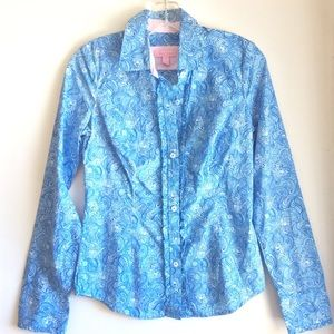 LILLY PULITZER ruffle button top blouse 0 XS  ⚓️