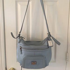 Tignanello Handbags - 🛍 Tignanello Baby Blue Leather Cross Body Bag