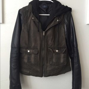 American Eagle Leather Sleeved Jacket