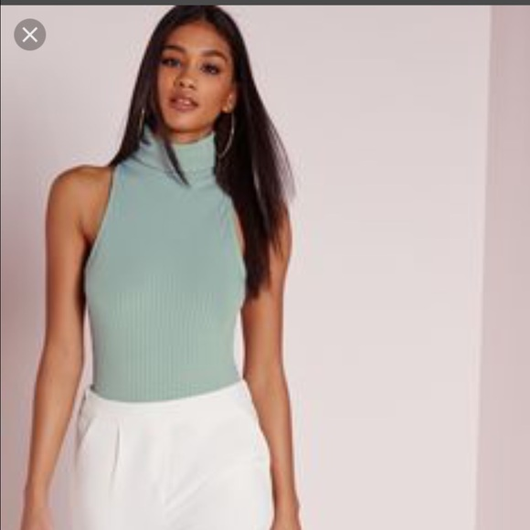 a0b3509ce9 Missguided rubbed turtleneck sleeveless bodysuit