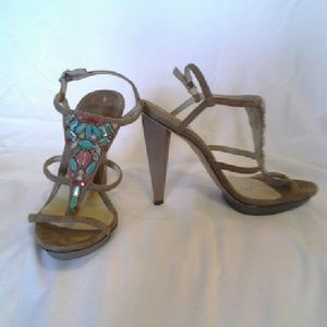 B Brian Atwood suede heels turquoise red accents