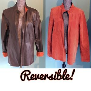 Boutique Jackets & Blazers - Reversible Leather Jacket Brown Rust Suede