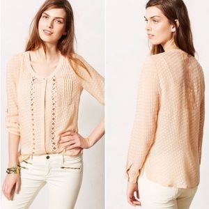 Anthropologie Tops - Anthropologie Meadow Rue Adoria Peach Blouse