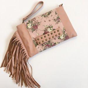 Handbags - Faux leather floral & fringe clutch