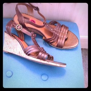 Clarks Shoes - NWOB CLARKS bronze wedge sandals-stylish & comfy!