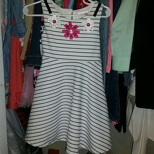 Black and white striped toddler girl dress