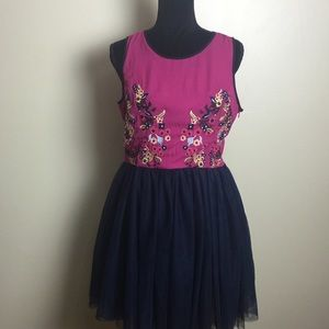 Miami Anthropologie Pink Navy Floral Tulle Dress