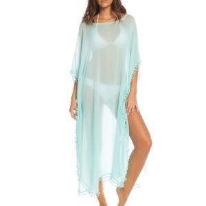 Elan Swim - Aqua Caftan With Pom Pom Trim