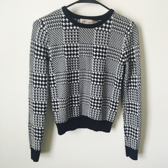 Philosophy Tops Black And White Checkered Sweater Poshmark