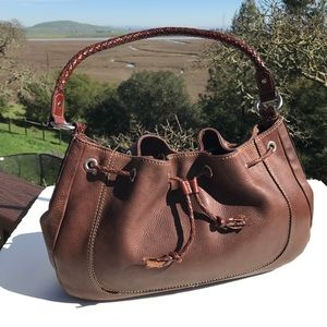 Fossil Handbags - Fossil Tassel Braided Brown Leather Drawstring Bag