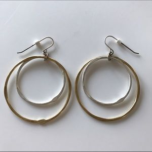 Gold and silver toned hoop earrings