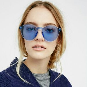 Blue Monolens Rimless Sunglasses