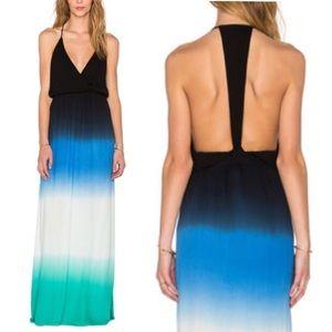 austin gal Dresses & Skirts - Ombré MAXI DRESS Stretch Jersey T-Back Blue Green