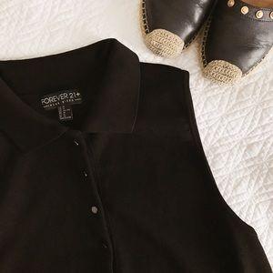 Forever 21 Tops - Forever 21 + Button Black Sleeveless Top