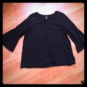 Ladies black top with bell sleeves