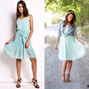 Oasap Dresses & Skirts - PLEATED CHIFFON🔹AQUA DRESS🔹NWT