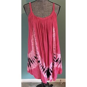 Pink Tie Dye Dress Coverup Pink Blue Small to 2X